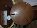 Mirror platter with spherometer, showing adjusting clamp slots